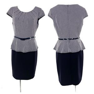 Connected Apparel Navy Blue White Belted Dress 12